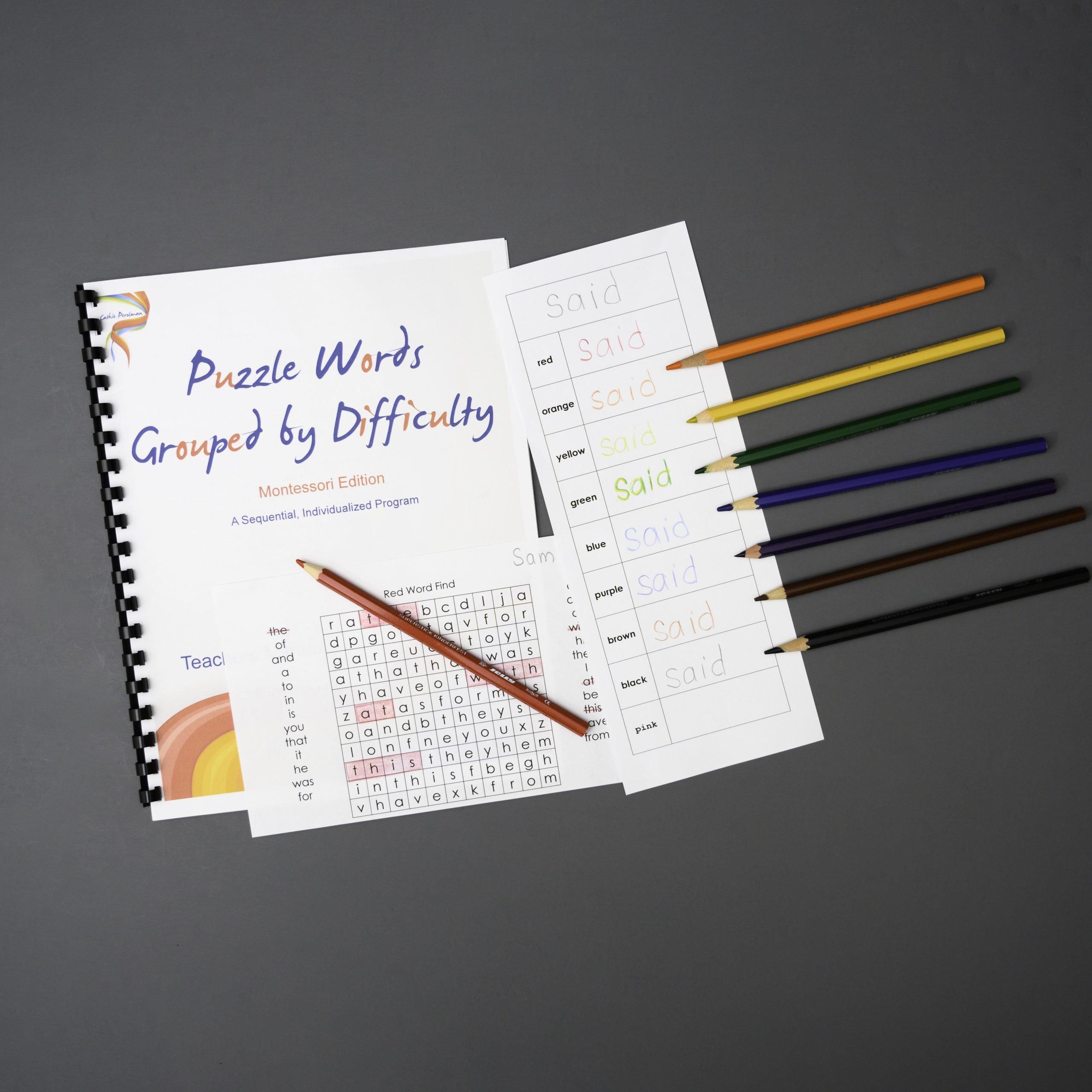 Puzzle Words - Teacher's Manual & Rainbow Writing Sheet
