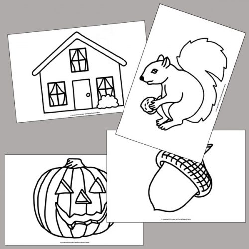 Fall Tracing Pictures - squirrel, pumpkin, acorn and house